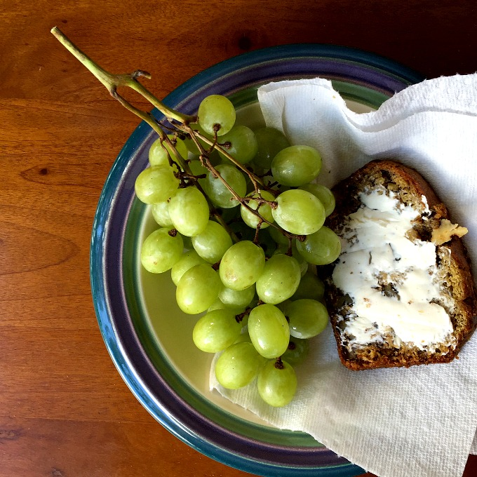Grapes and Banana Bread with Cream Cheese