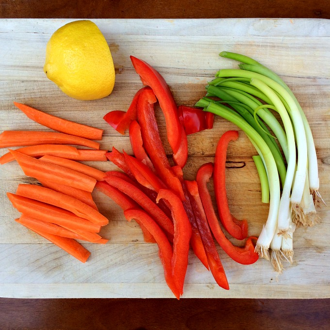Carrots, Bell Peppers, Green Onions and Lemon - Veggies Crudites