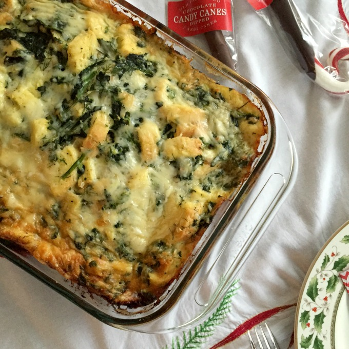Christmas Breakfast 2015 Egg and Spinach Strata