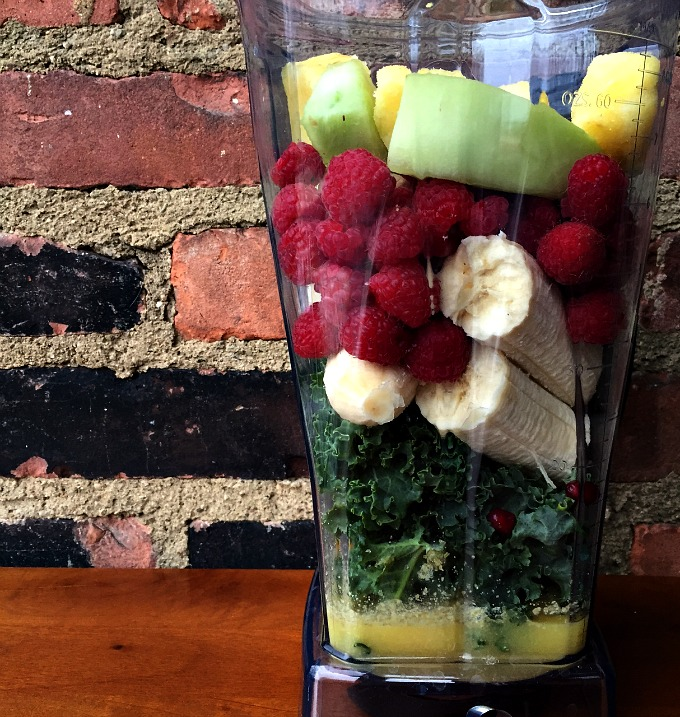 Breakfast Smoothie - Banana, Raspberries, Melon, Pineapple, Pomegranates, and Kale