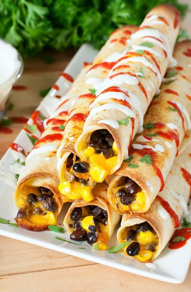 cheesy-black-bean-corn-flautas-taquitos-recipe-with-greek-yogurt-ranch-sriracha-guacamole-cilantro-1346xS