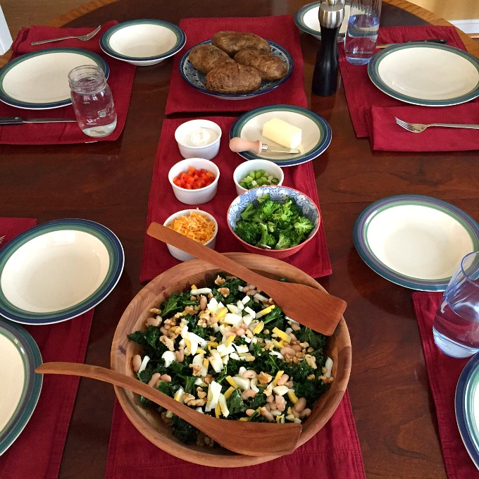 Kale Salad and Baked Potato Bar Lunch