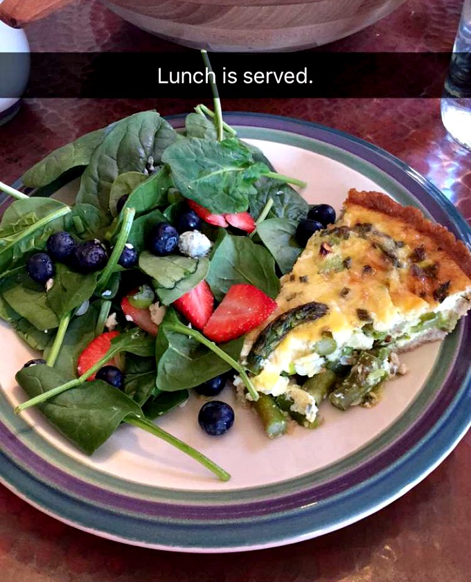 Spinach Salad and Asparagus Quiche