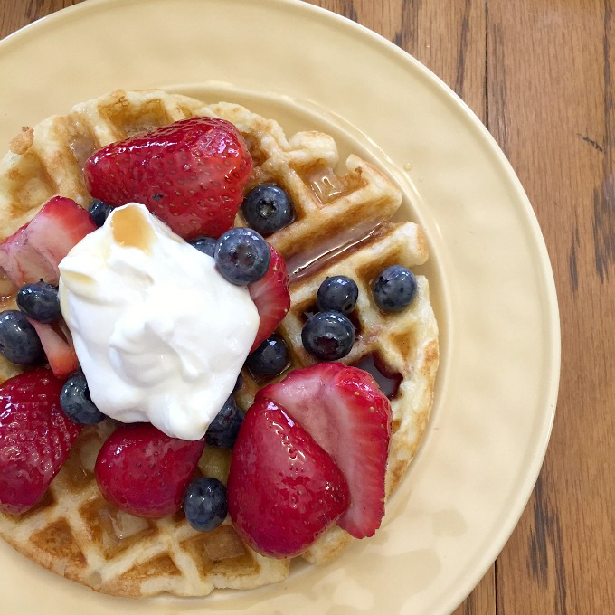 Belgium Waffle with Berries and Yogurt