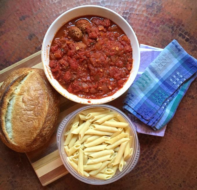 Veggie Meatballs, Pasta, and Bread