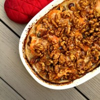 Scalloped Sweet Potato Casserole with Bechamel Sauce and Candied Walnuts