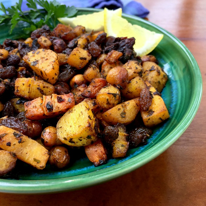These Moroccan spiced carrots with chickpeas and raisins make a great addition to any meal. They are bursting with flavor and pack a healthy punch.