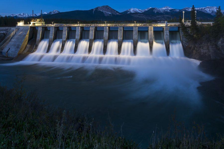 Seebe Hydroelectric Dam near Exshaw at Night