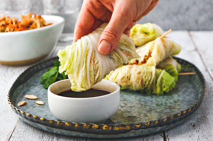 Almond Chicken Cabbage Wraps