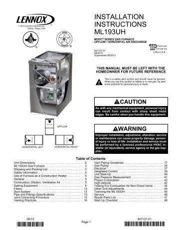 Natural Gas Furnace Installation Manual