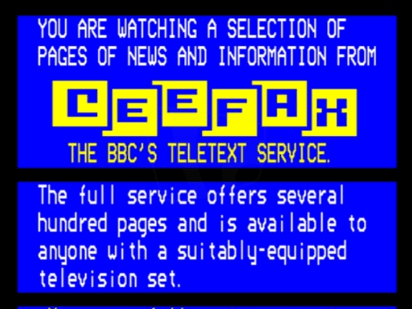PICTURED: Ceefax In-Vision page (1980). An early version of what would later become the front page for the in-vision service.