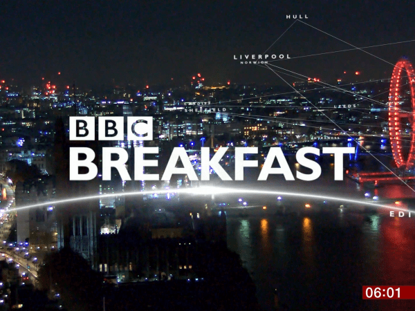 PICTURED: a still from the opening titles of BBC Breakfast where live location shots are used.