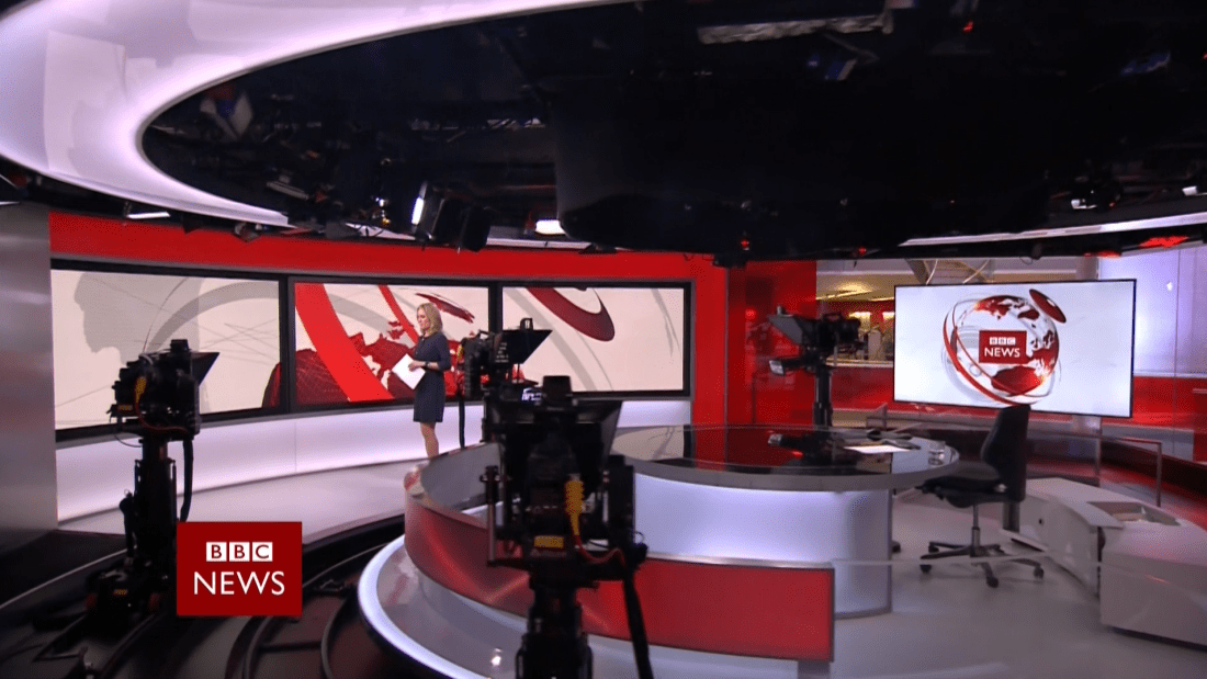 PICTURED: a still from the opening sequence of the BBC News at Six. Presenter: Sophie Raworth.
