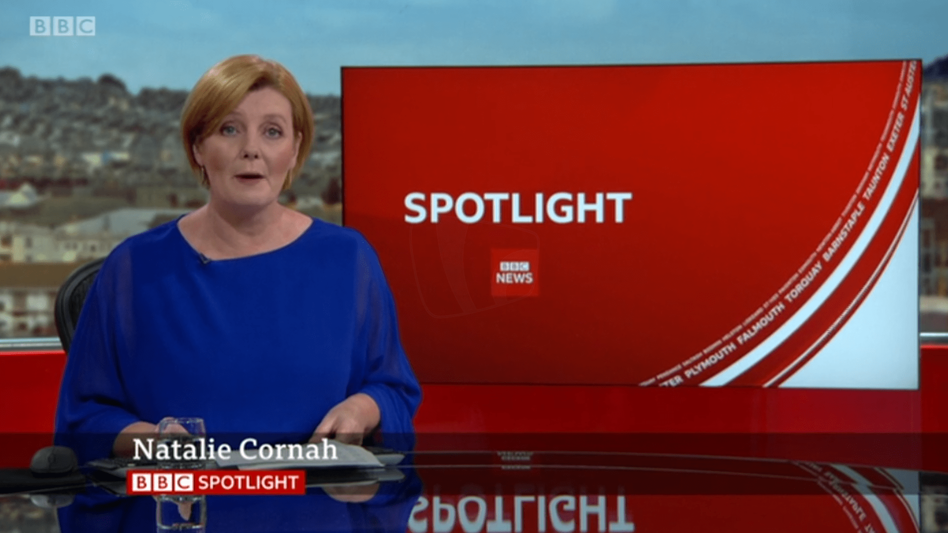 PICTURED: BBC Spotlight studio presentation and lower-third. Presenter: Natalie Cornah