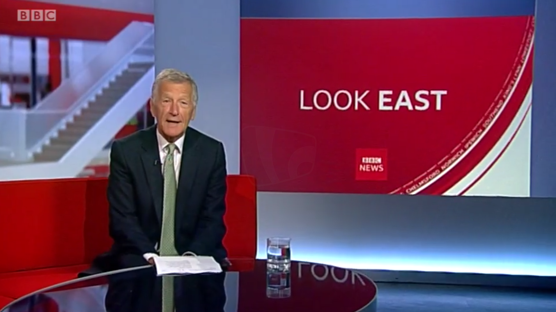 PICTURED: BBC Look East studio presentation. Presenter: Stewart White.