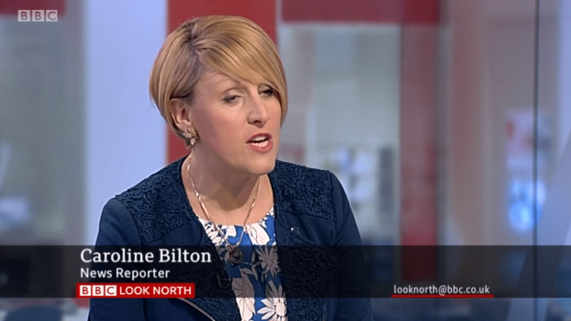 PICTURED: BBC Look North studio presentation and lower-third. Reporter: Caroline Bilton.