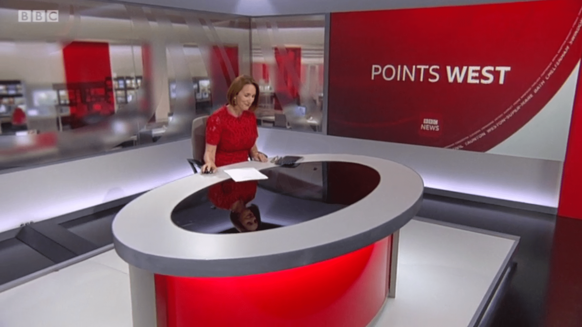 PICTURED: BBC Points West studio presentation. Presenter: Sarah-Jane Bungay.