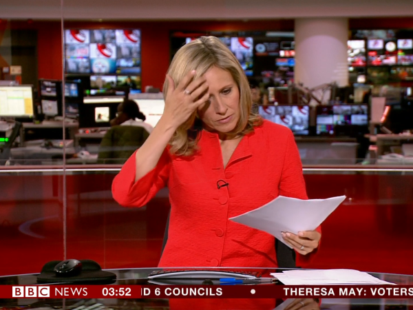 PICTURED: presenter, Sophie Raworth, appears on air unintentionally, due to a technical glitch.