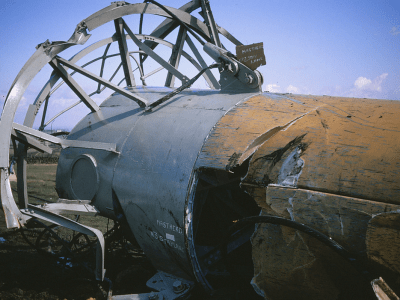 PICTURED: a portion of the collapsed Emley Moor Mast (1969).