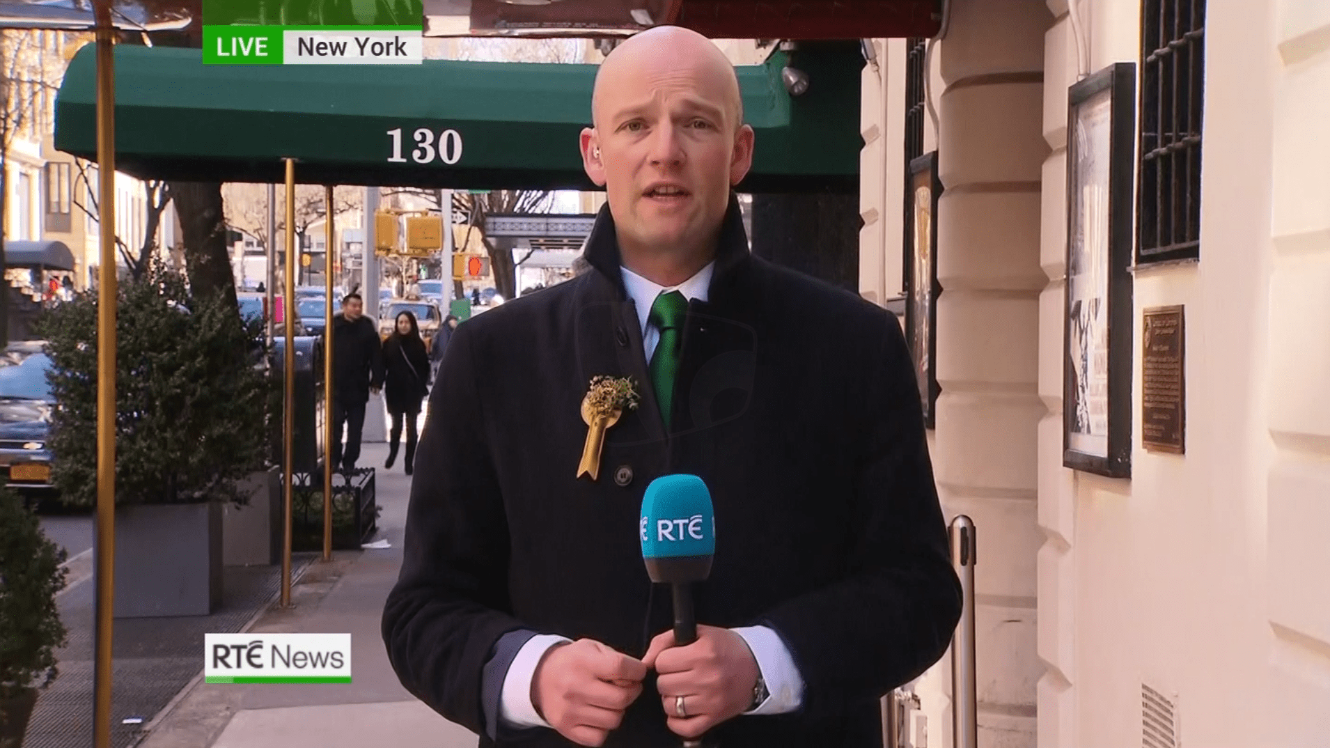 PICTURED: RTÉ News: Six-One presentation for St Patrick's Day. Reporter: Brian O'Donovan.