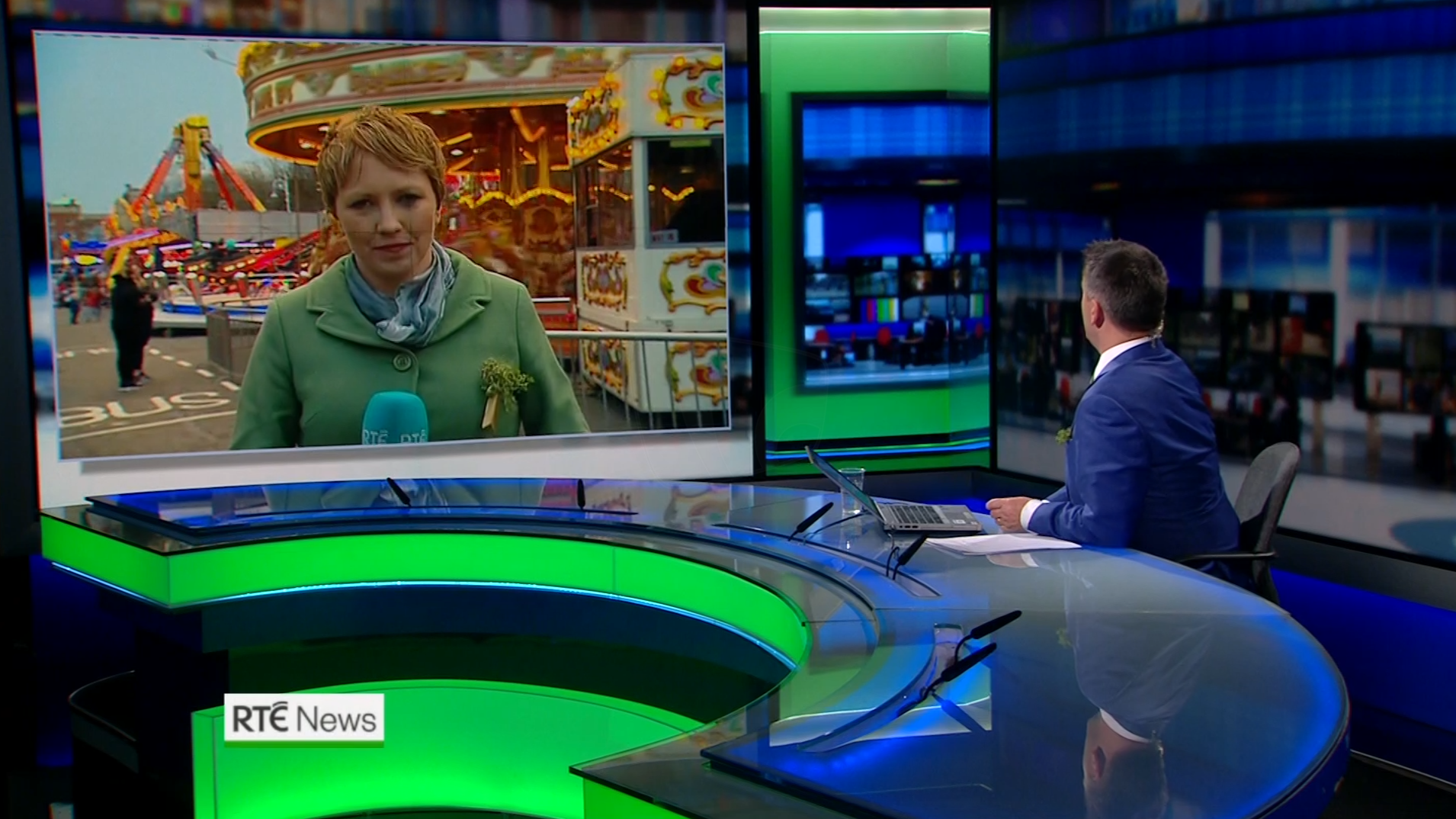 PICTURED: RTÉ News: Six-One presentation for St Patrick's Day. Presenter: Aengus MacGrianna. Reporter: Sinead Crowley.