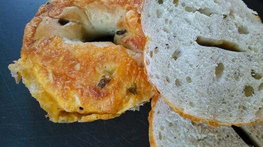 Green Chili Pepper Cheddar Bagel Whole and Split in Half on Dark Background
