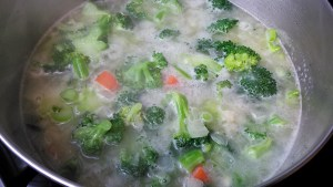 Chicken Broth and Veggies for Low Carb Broccoli Soup