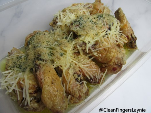 Crispy Wings Topped with Garlic Butter Parmesan Sauce