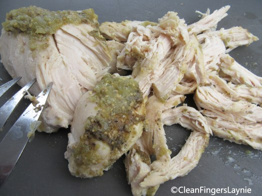 Shredding Salsa Verde Chicken - Close Up