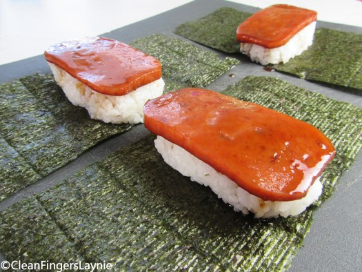 Nori, Rice, Spam Assembly for Spam Musubi Rolls
