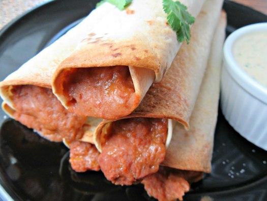 Close Up of Crisp Bean Burritos