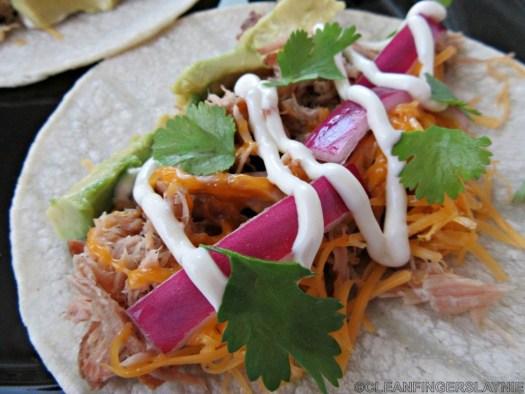 Close Up of Easy Pork Carnitas Tacos