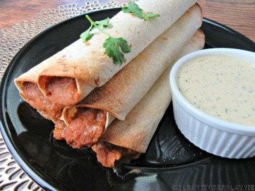 Plate of Crisp Bean Burritos and Side of Mexican Ranch Dressing