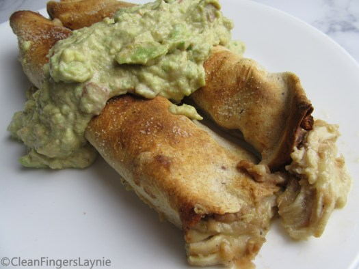 Salsa Verde Flautas Topped with Guacamole