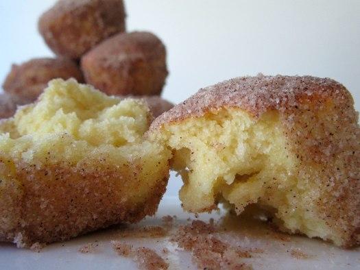 Air Fryer Cinnamon Sugar Donut Muffins Close Up Side View
