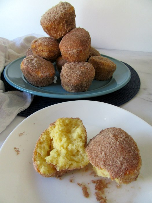 Air Fryer Cinnamon Sugar Donut Muffins Close Up and Stacked