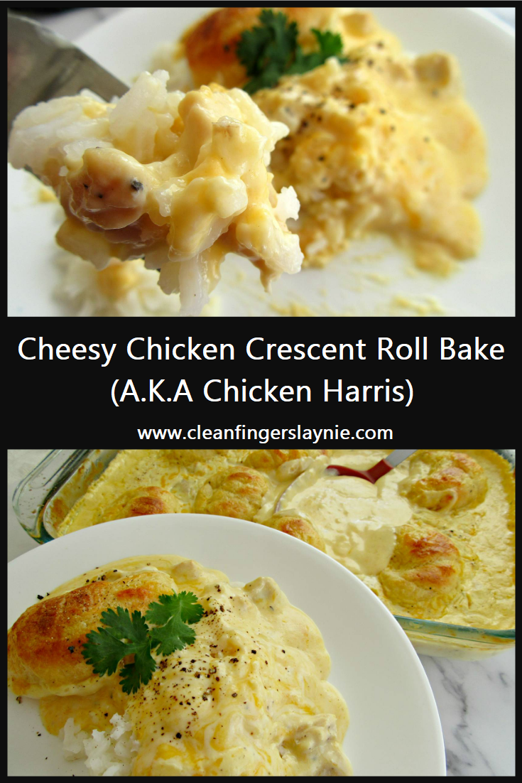 Cheesy Chicken Crescent Roll Bake -- Clean Fingers Laynie