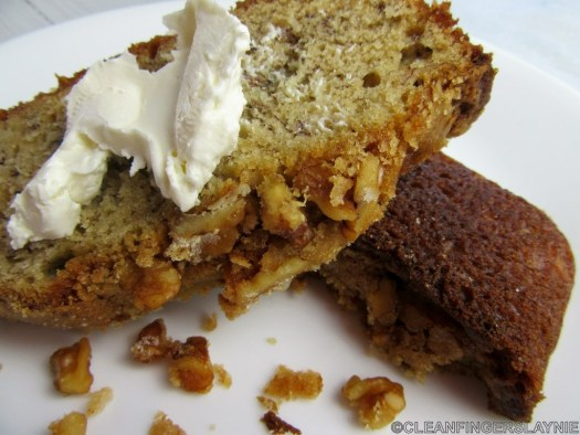 One Bowl Banana Bread Slices with Cream Cheese