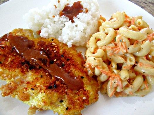 Hawaiian Mixed Plate with Katsu Chicken, Tonkatsu Sauce, Macaroni Salad, Rice