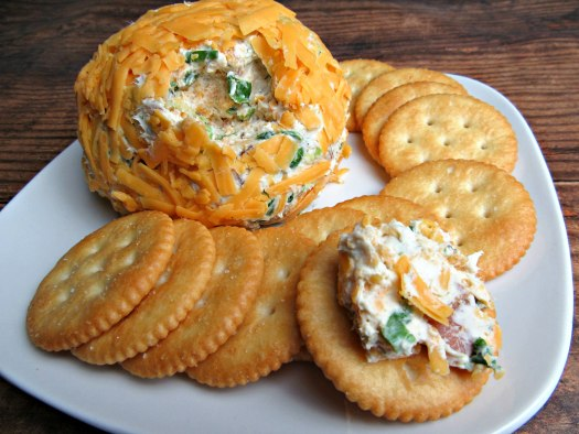 Bacon Cheddar Ranch Cheese Ball with Crackers