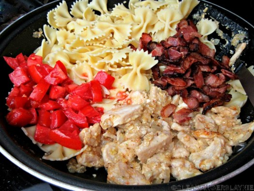 Carino's Chicken Bowtie Festival Copycat Ingredients in Pan