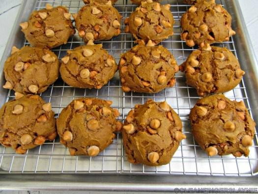 Pumpkin Butterscotch Chip Cookies on Baking Rack