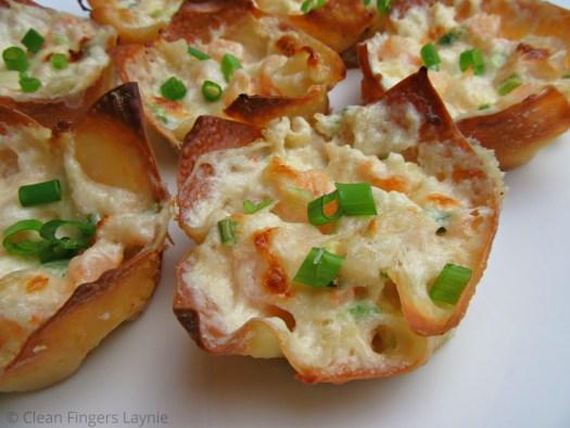 Triple Cheese Shrimp Dip Wontons Close Up
