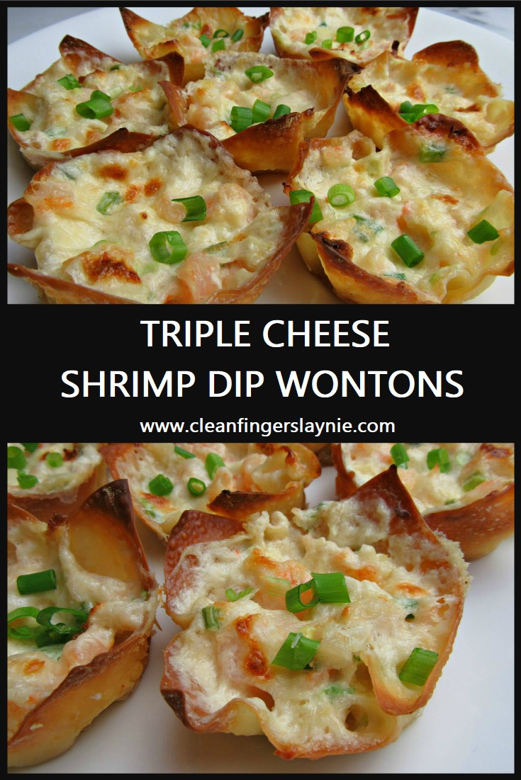 Triple or Three Cheese Shrimp Dip Wontons - Clean Fingers Laynie