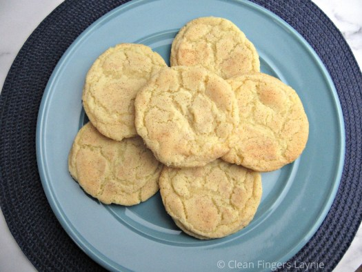 Soft and Chewy Snickerdoodle Cookie on Blue Plate