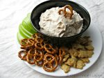 Cinnamon Roll Cheesecake Dip with Apples, Pretzels, and Graham Crackers