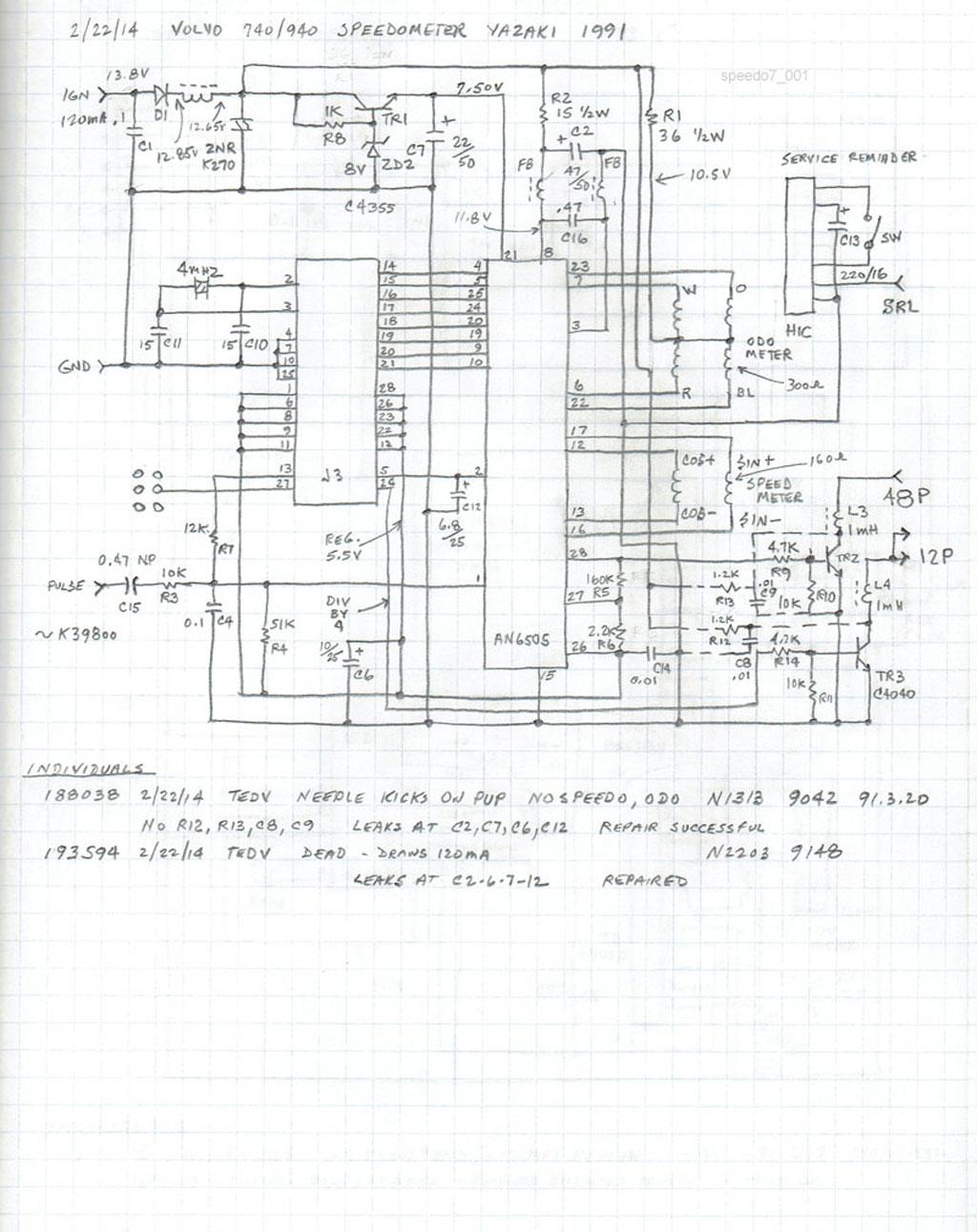 1993 volvo 940 wiring diagram tekonsha voyager notes on 740 speedometers 1991 speedometer