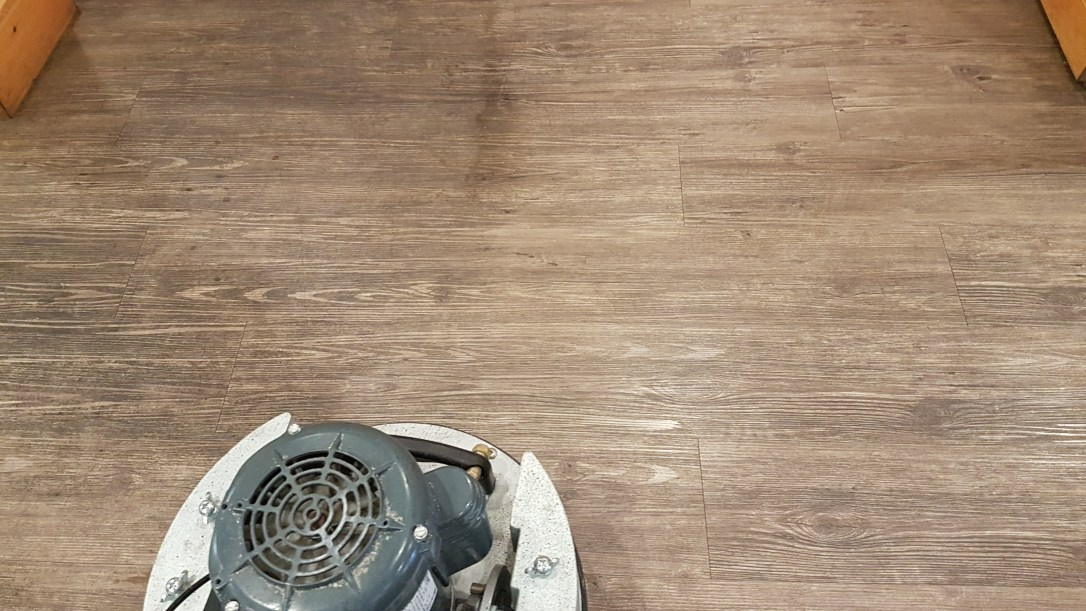 Grease and grime cannot be mopped clean and using a cleaning system with too much water can damage the flooring and have it peal up. So we use a low moisture system to first pre-scrub the floor using only water and then power mop it using super absorbent pads and our orbiting scrubber.