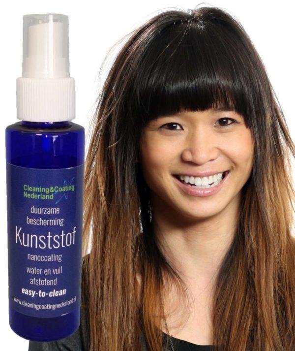 nanocoating kunststof met lachend Aziatisch meisje