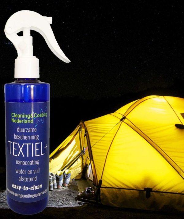 nanocoating textiel+ en een gele trekkerstent
